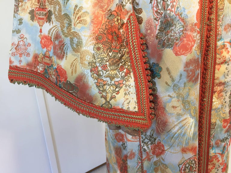 Moroccan Caftan Floral Brocade Multicolored Embroidered Kaftan 1970s In Good Condition For Sale In North Hollywood, CA