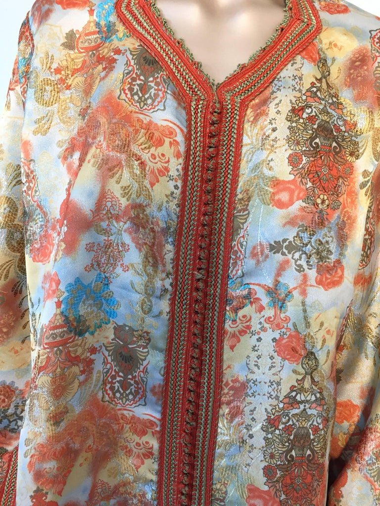 Late 20th Century Moroccan Caftan Floral Brocade Multicolored Embroidered Kaftan 1970s For Sale