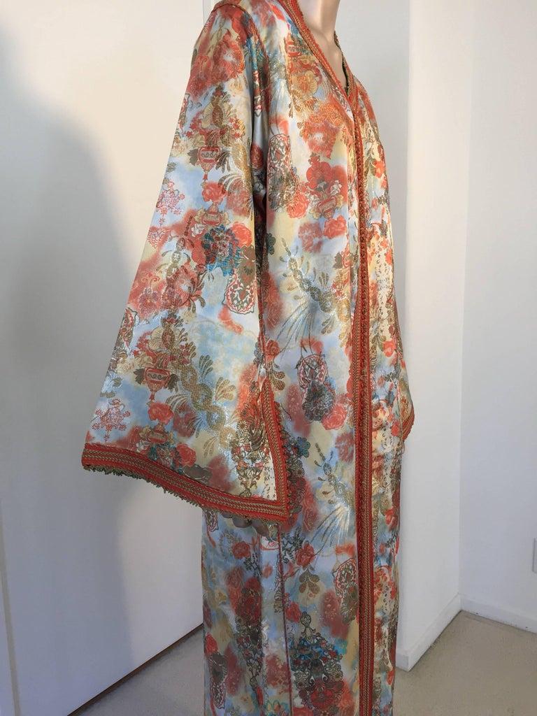 Moroccan Caftan Floral Brocade Multicolored Embroidered Kaftan 1970s For Sale 1