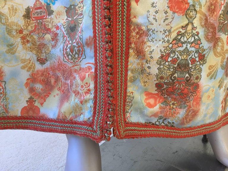 Moroccan Caftan Floral Brocade Multicolored Embroidered Kaftan 1970s For Sale 2