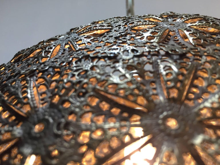 Hand-Crafted Middle Eastern Moorish Pierced Brass Hanging Lamp Shade For Sale