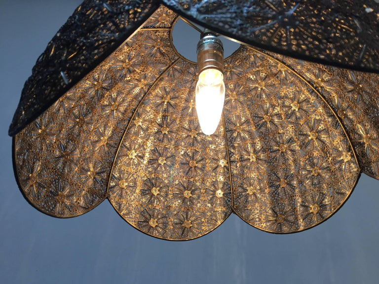 Middle Eastern Moorish Pierced Brass Hanging Lamp Shade For Sale 3