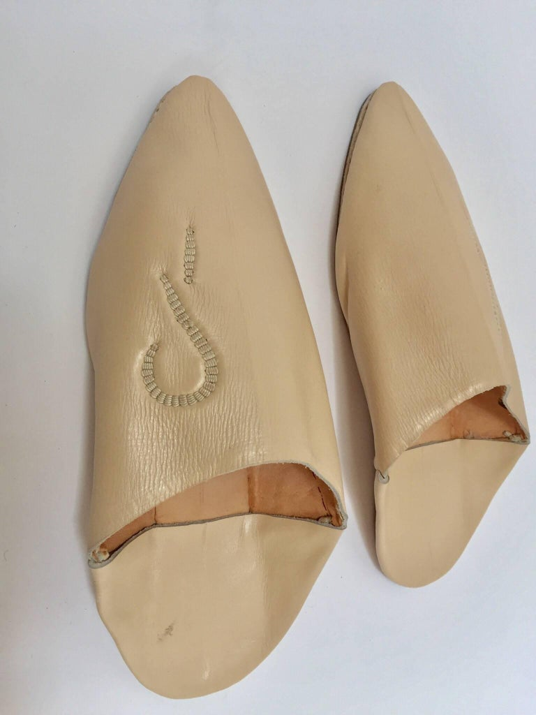 Hand-Crafted Moroccan Hand Tooled Leather Slippers For Sale