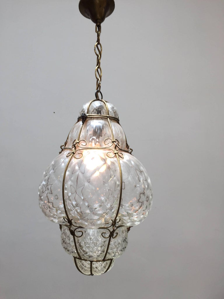 Vintage Handblown Seguso Murano Clear Glass Cage Pendant Light For ...