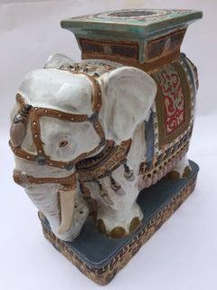 Pair of Chinese Ceramic Elephant Garden Stools