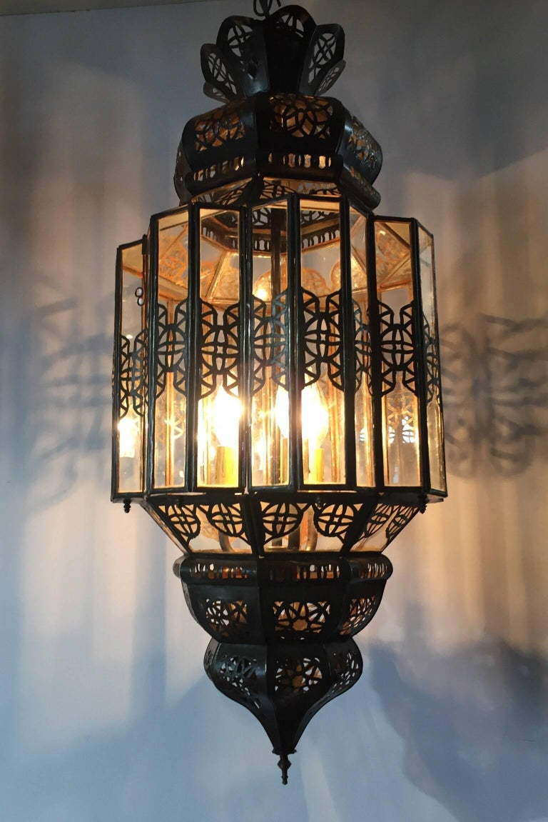 Moroccan Moorish Clear Glass Lantern For Sale 4
