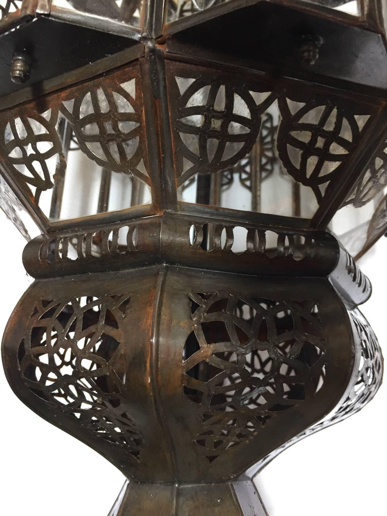 Moroccan Moorish Clear Glass Lantern For Sale 8