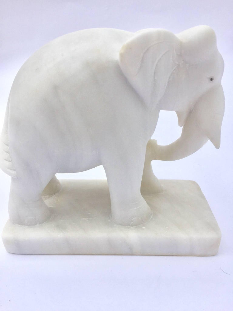Anglo Raj Hand-Carved White Elephant Marble Sculpture Jaipur, Rajasthan India For Sale