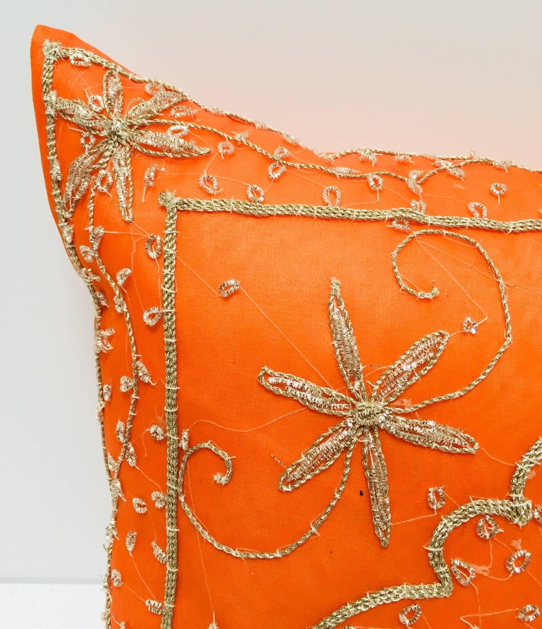 20th Century Throw Decorative Orange Accent Pillow Embellished with Sequins and Beads For Sale