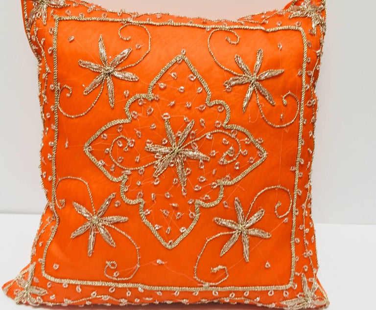 Moorish Throw Decorative Orange Accent Pillow Embellished with Sequins and Beads For Sale