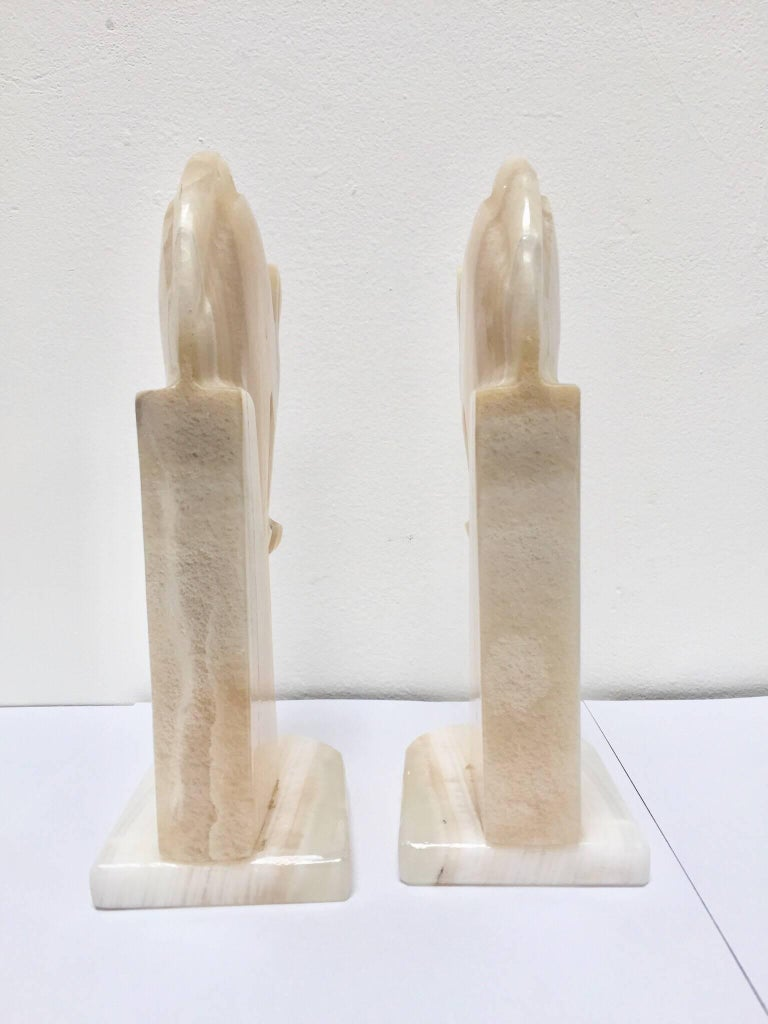 Hand-Carved Pair of Art Deco Onyx Horses Heads Bookends For Sale