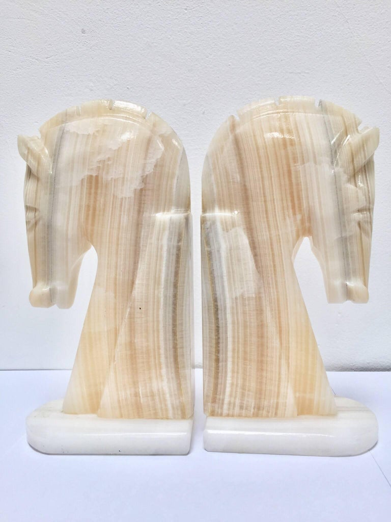 20th Century Pair of Art Deco Onyx Horses Heads Bookends For Sale