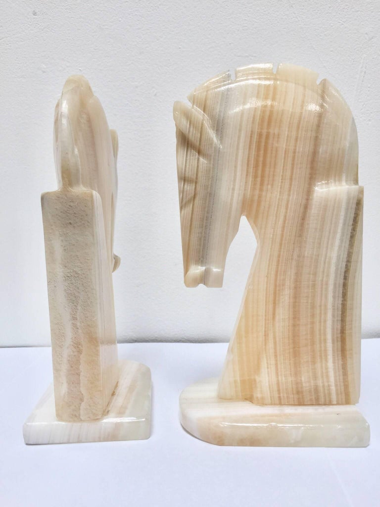 Pair of Art Deco Onyx Horses Heads Bookends For Sale 1