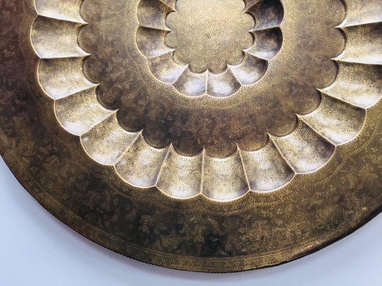 Monumental Anglo-Indian Brass Hanging Tray Platter 47 Inches Diameter For Sale 4