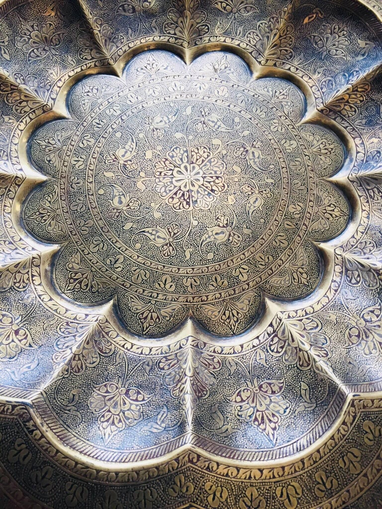 Monumental Anglo-Indian Brass Hanging Tray Platter 47 Inches Diameter For Sale 8