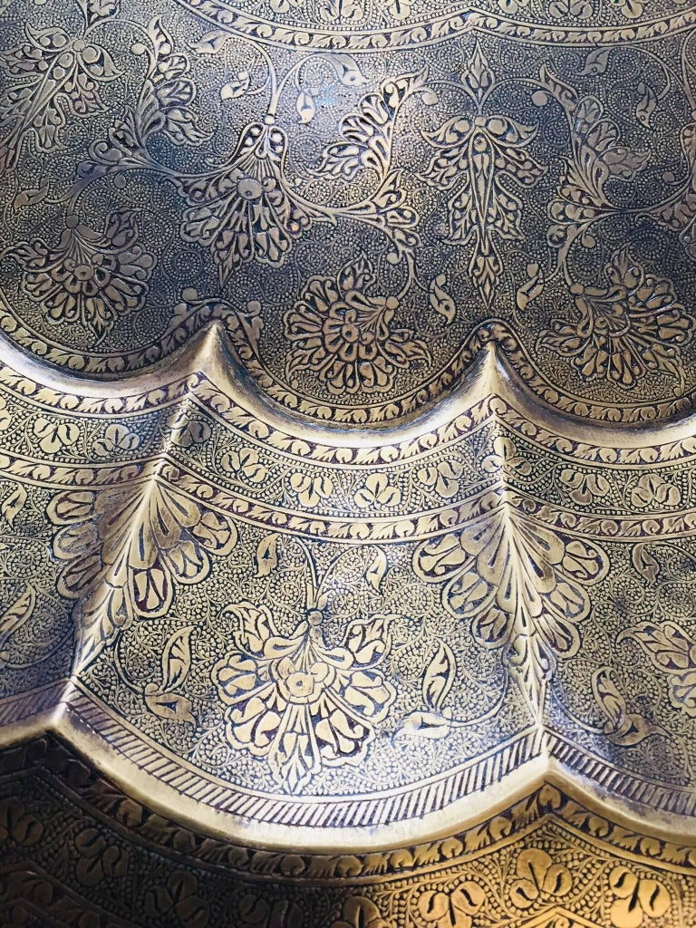 Monumental Anglo-Indian Brass Hanging Tray Platter 47 Inches Diameter For Sale 9