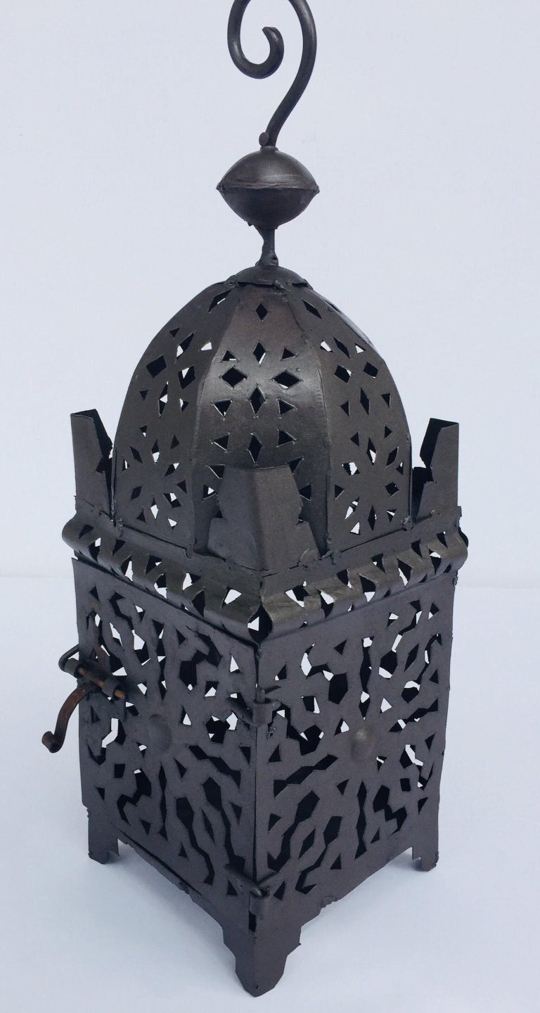 20th Century Moroccan Hurricane Metal Candle Lantern Indoor or Outdoor For Sale