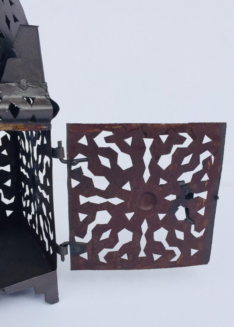 Moroccan Hurricane Metal Candle Lantern Indoor or Outdoor For Sale 4