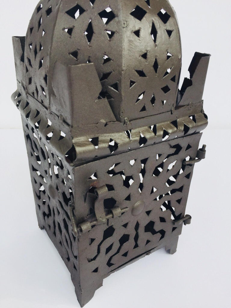 Moroccan Hurricane Metal Candle Lantern Indoor or Outdoor For Sale 8