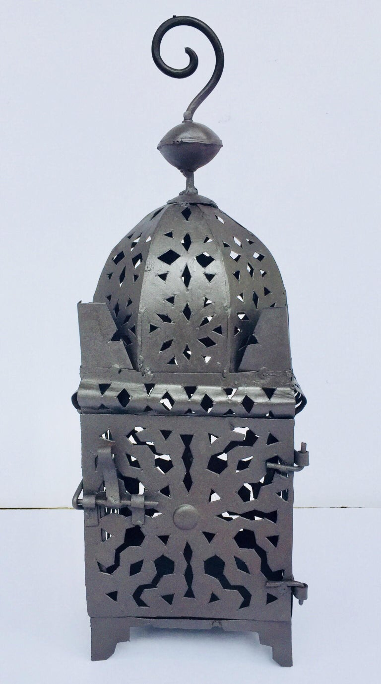 Moroccan Hurricane Metal Candle Lantern Indoor or Outdoor For Sale 11