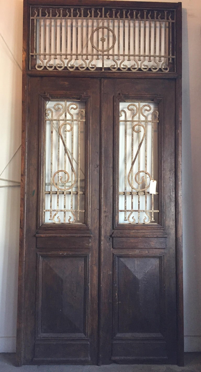 Set of French Painted Double Entry Door with Iron Insert For Sale 6