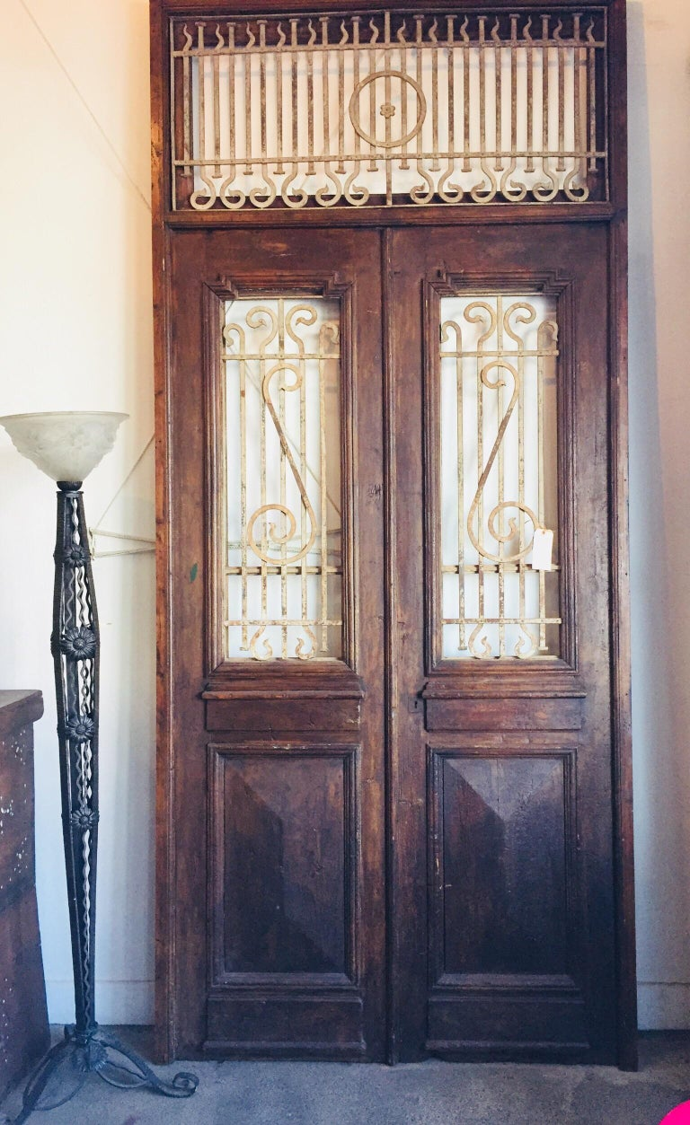 Set of French Painted Double Entry Door with Iron Insert For Sale 5