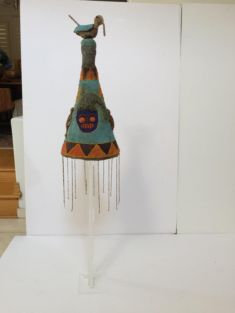 Yoruba Nigeria African Royal Beaded Headdress Crown on Lucite Stand For Sale 6