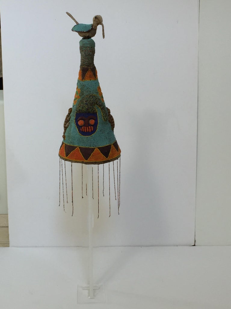 Yoruba Nigeria African Royal Beaded Headdress Crown on Lucite Stand For Sale 8