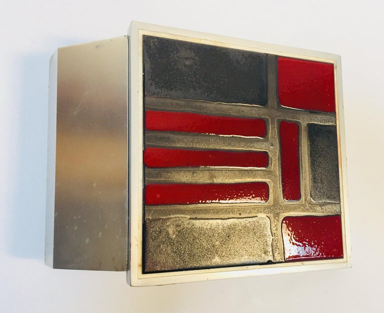 Mid-Century Modern Vintage Belgian Tile Faced Entry Door Pull Handle by Artist Juliette Belarti For Sale