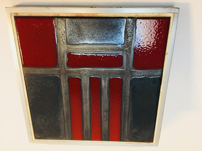 Vintage Belgian Tile Faced Entry Door Pull Handle by Artist Juliette Belarti For Sale 2
