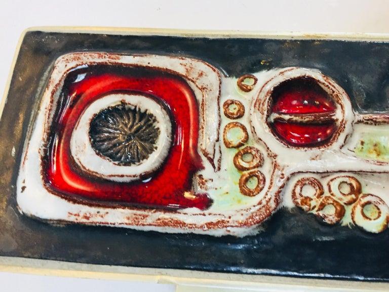 Vintage Belgian Tile Faced Entry Door Pull Handle by Artist Juliette Belarti For Sale 2