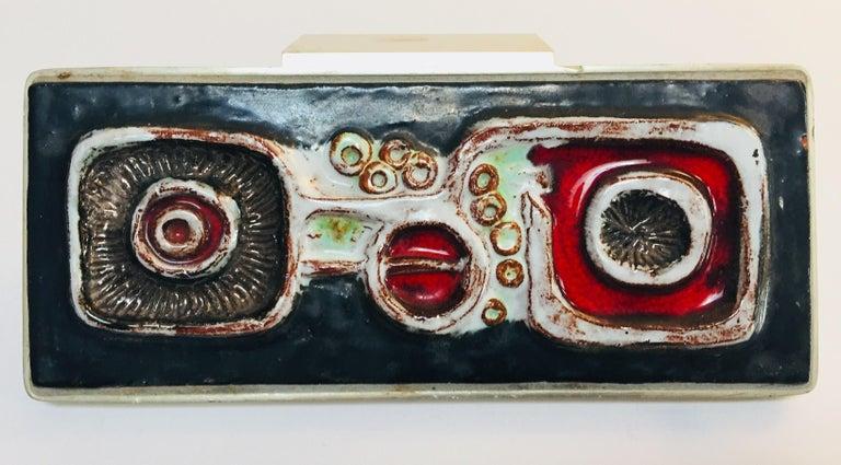 Vintage Belgian Tile Faced Entry Door Pull Handle by Artist Juliette Belarti For Sale 4