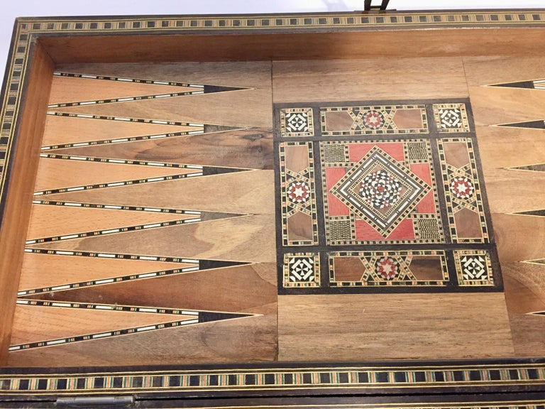 Marquetry Large Vintage Complete Syrian Inlaid Mosaic Backgammon and Chess Game For Sale