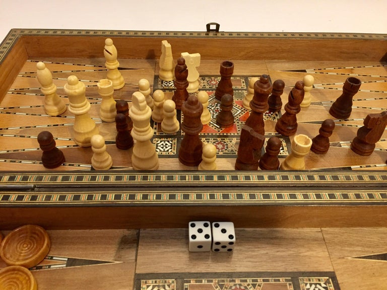 Large Vintage Complete Syrian Inlaid Mosaic Backgammon and Chess Game In Fair Condition For Sale In Los Angeles, CA