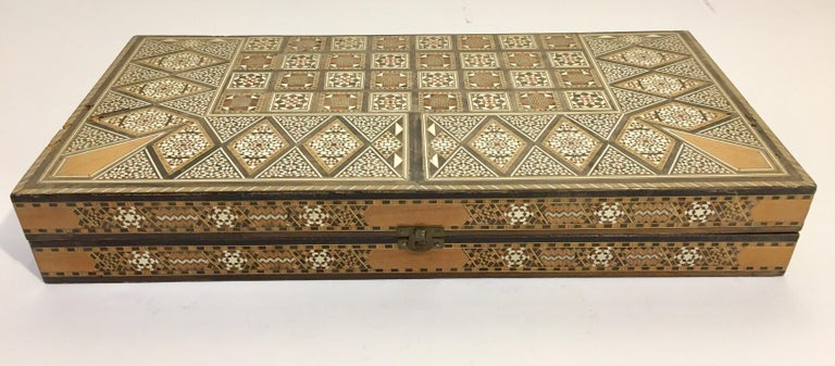 Large Vintage Complete Syrian Inlaid Mosaic Backgammon and Chess Game For Sale 1
