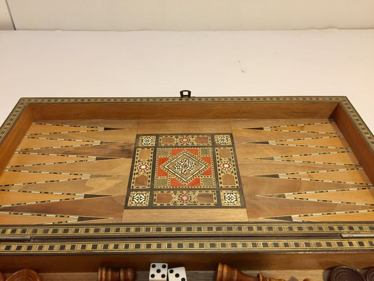 Wood Large Vintage Complete Syrian Inlaid Mosaic Backgammon and Chess Game For Sale
