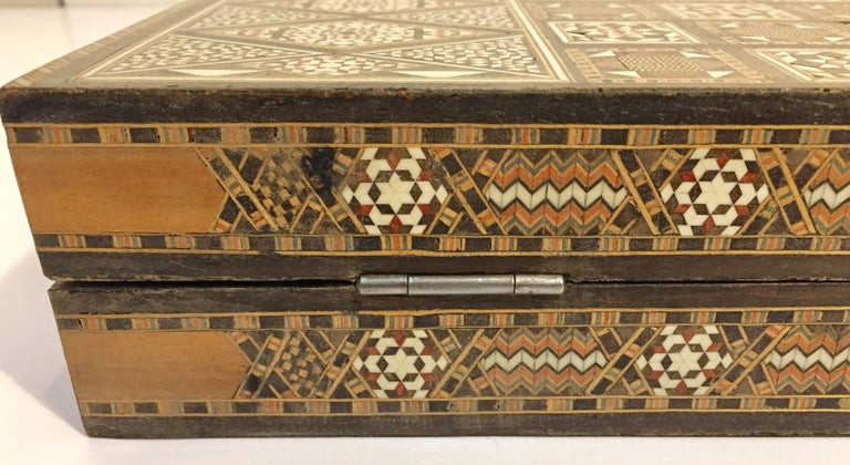 Large Vintage Complete Syrian Inlaid Mosaic Backgammon and Chess Game For Sale 7
