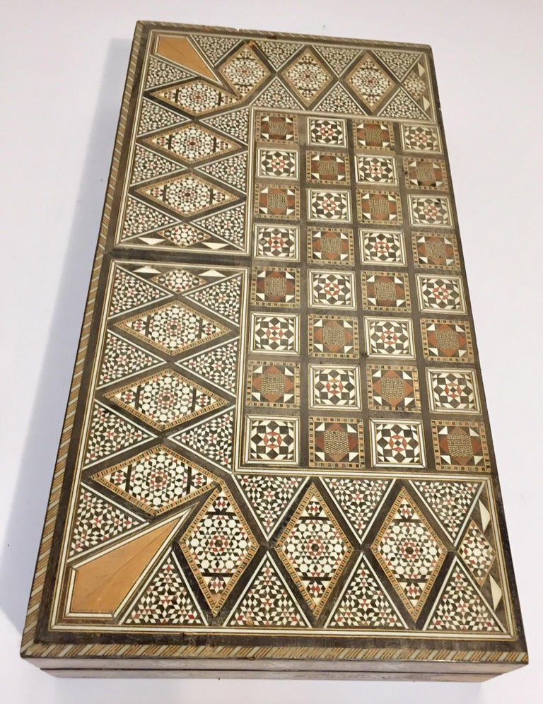 Large Vintage Complete Syrian Inlaid Mosaic Backgammon and Chess Game For Sale 10