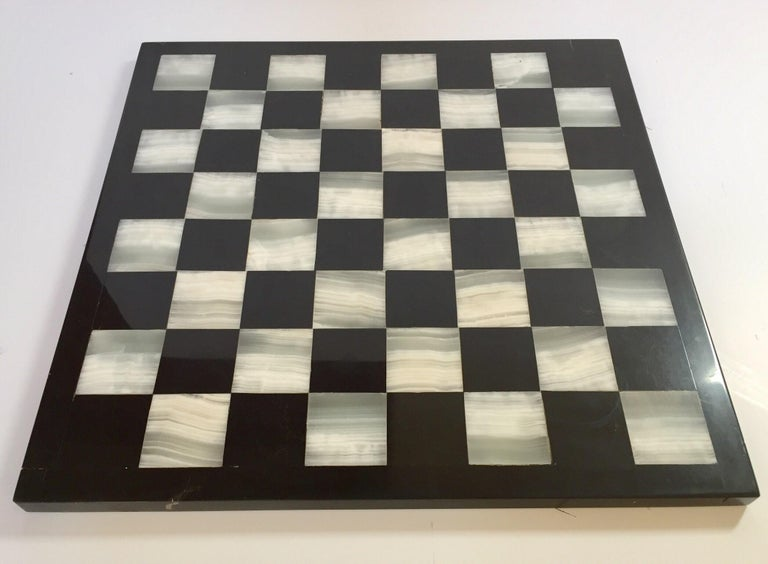 """Vintage large heavy marble chess set complete board in white and black with chess set with elaborately onyx hand carved chess pieces with fine decoration. Measures: The king stands 3.5"""" tall, smaller pieces are 1"""