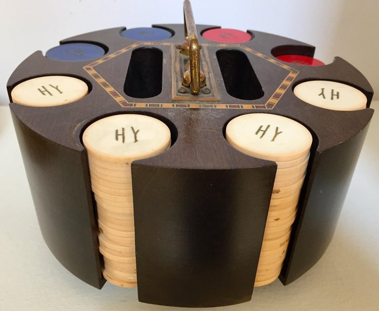Inlay Vintage Poker Chip Carousel Wood Caddy with Cover For Sale