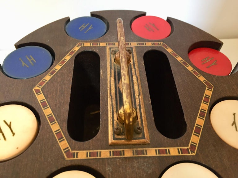 Vintage Poker Chip Carousel Wood Caddy with Cover In Good Condition For Sale In Los Angeles, CA