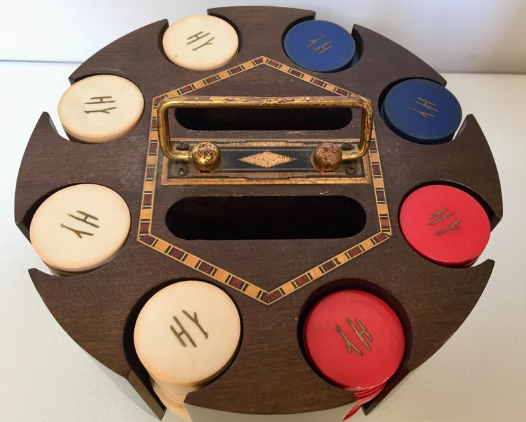 20th Century Vintage Poker Chip Carousel Wood Caddy with Cover For Sale