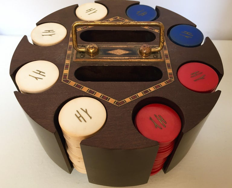 Vintage Poker Chip Carousel Wood Caddy with Cover For Sale 1