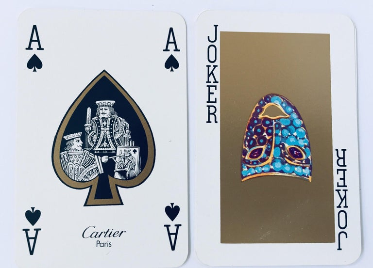 20th Century Must de Cartier Paris Vintage Playing Poker or Bridge Cards in Red Box For Sale