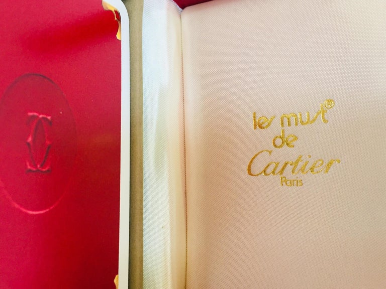 French Must de Cartier Paris Vintage Playing Poker or Bridge Cards in Red Box For Sale