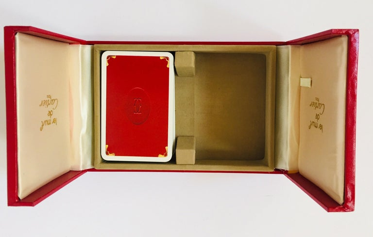 Mid-Century Modern Must de Cartier Paris Vintage Playing Poker or Bridge Cards in Red Box For Sale