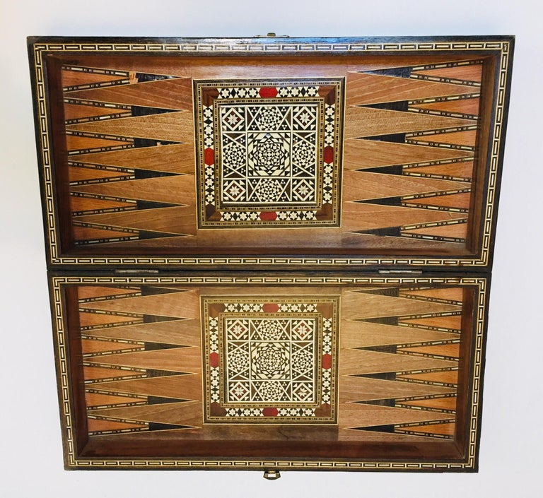 Vintage Large Complete Syrian Inlaid Mosaic Backgammon and Chess Game For Sale 3