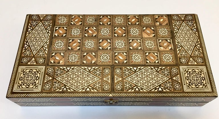 Moorish Vintage Large Complete Syrian Inlaid Mosaic Backgammon and Chess Game For Sale