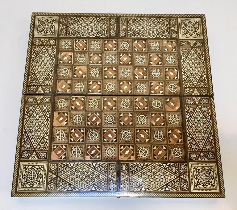 Wood Vintage Large Complete Syrian Inlaid Mosaic Backgammon and Chess Game For Sale