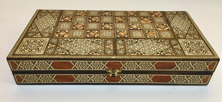 Vintage Large Complete Syrian Inlaid Mosaic Backgammon and Chess Game In Fair Condition For Sale In Los Angeles, CA